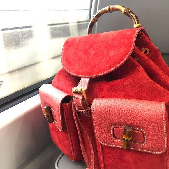 26af5ae374c27c Gucci Bags | Red Suede Leather Bamboo Turnlock Backpack | Poshmark